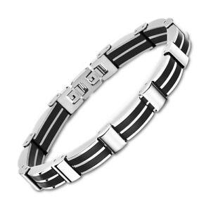 Lotus-Style-Armlet-Men-039-s-LS1878-2-3-Stainless-Steel-Silver-Black-JLS1878-2-3