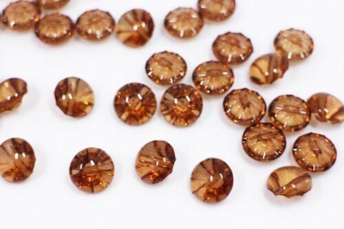 Brown Shank Buttons Acrylic Clear Transparent Round Shiny Small Shirt 13mm 20pcs