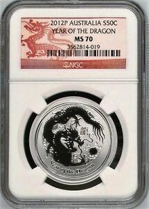Australia-2012-P-S50C-1-2-oz-Silver-Dragon-NGC-MS70-Coin-Australia