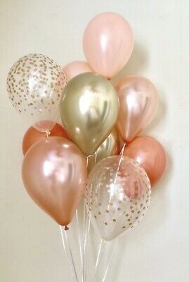 Rose Gold Peach Clear Confetti PARTY BALLOONS Ideal for School Prom Awards x12