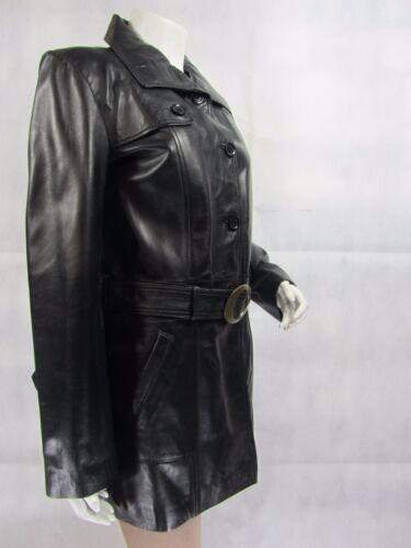 Mesdames Trench Soft Cuir Noir Comfort Fit 3//4 Long Fashion Ceinture Veste Bouton
