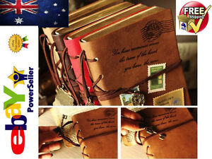 TI AU Retro Classic Vintage Leather Bound Blank Pages Journal Diary Notebook 16