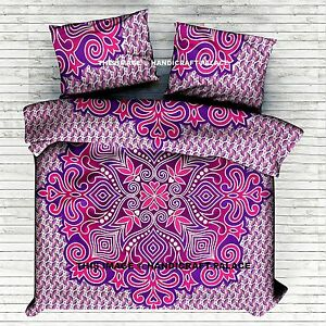 Indian Ombre Mandala Printed Reversible Pink Duvet Cover With 2 Pillow Covers