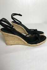 976689a46bdf Banana Republic Sz 9 Wedge Strappy Sandals Black Leather Upper Rubber Sole