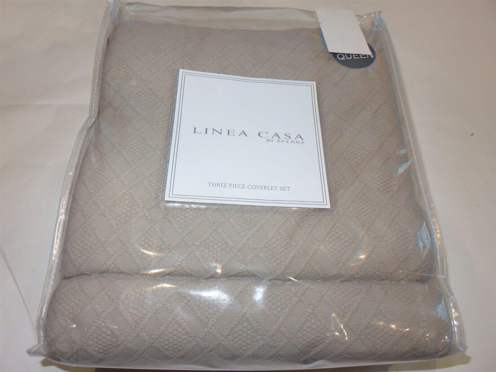 Sferra Linea Casa Matelasse Crochet Diamond 3P Full Queen Coverlet Shams Taupe