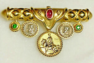 SeidenGang-18K-Yellow-Gold-Pink-Green-Tourmaline-Coin-Charms-20g-Heavy-Brooch