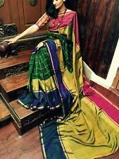 Anushka Uppada Zari Border Pure Silky Sarees Hand Weaved South Indian Pattu Sari
