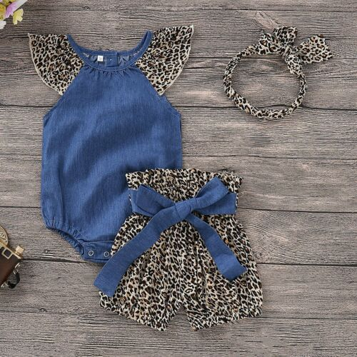 3PCS Newborn Kids Baby Girl Pretty Clothes Romper Bodysuit+Shorts Headband Set