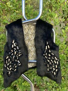 JAMIE-SADOCK-Sz-S-M-Black-Genuine-Rabbit-Fur-Vest-w-Metal-Sequins-Lace-Lining