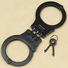 Heavy Duty Black Steel Hinged Double Lock Police Handcuffs Hand Cuffs 2 Keys NEW