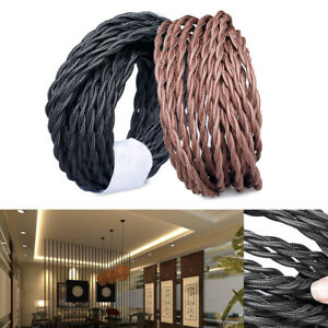 1-5-10M-2-Core-Vintage-Twist-Braided-Fabric-Light-Lamp-Cable-Electric-Wire-Cord