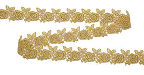 "25mm 1/"" /'Roses/' Metalic Gold Venise Lace Trim by the yard"