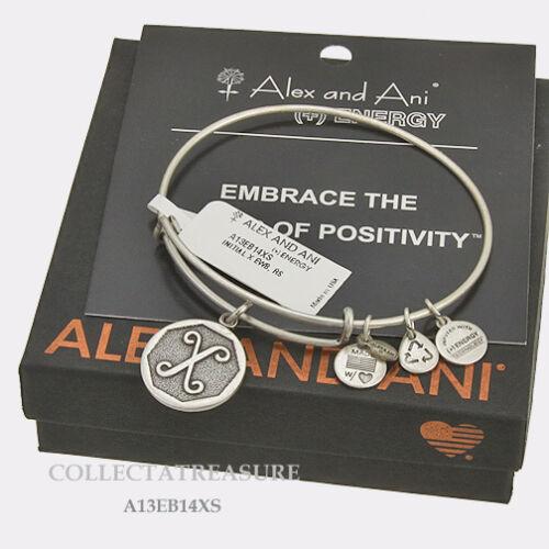 Authentic Alex and Ani Initial X Rafaelian Silver Charm Bangle
