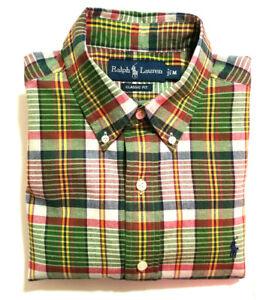 Ralph-Lauren-Classic-Fit-Mens-M-Short-Sleeve-Shirt-Green-Red-Plaid-EUC
