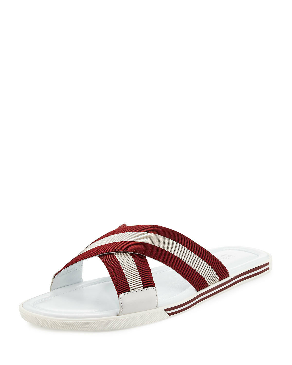 BALLY BONKS bianca LEATHER STRIPED LOGO CRISSCROSS SANDAL SLIDES 12 US 45