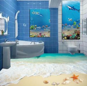 3D Delfines Playa Piso impresión de parojo de papel pintado mural 65 5D AJ Wallpaper Reino Unido Limón