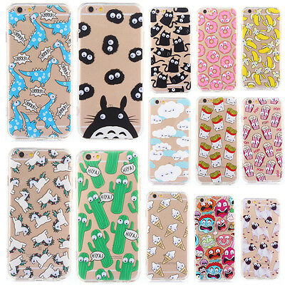 3D Cute Cartoon Eyes Move Foods Printed TPU Back Case Cover For iPhone 6S 7 Plus
