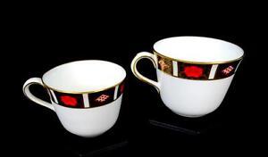 ROYAL-CROWN-DERBY-ENGLAND-A1314-OLD-IMARI-BORDER-2-PIECE-2-1-2-034-TEA-CUPS-1985