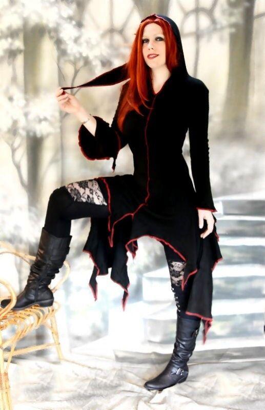 Gothic Medioevo vestito cappuccio estremità vestito vestito vestito strega wicca bf7720