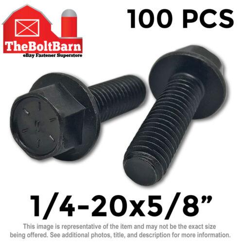 "100PCS 1//4-20 x 5//8/"" Grade 8 Hex Flange Screws Frame Bolts Coarse Phos Oil"