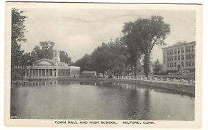 Postcard-Town-Hall-and-High-School-Milford-CT