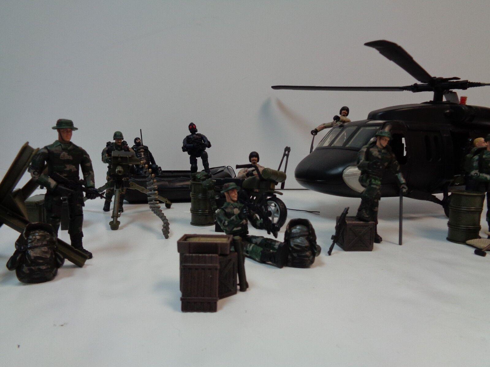Lote De Figura Militar-Lote de figuras de acción de 70 Piezas-Centro De Juguete M&C con helicóptero