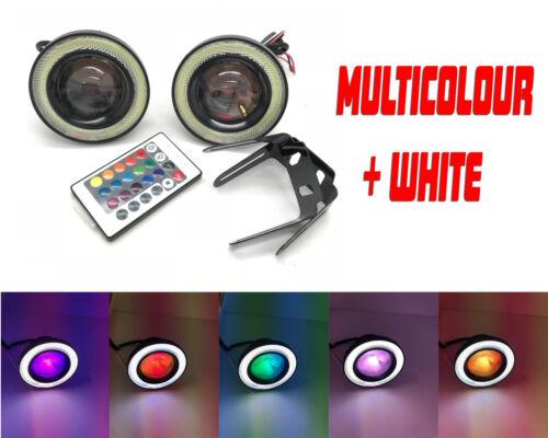 Fits Hyundai I10 Projector Cob LED Fog DRL Spot Lights Angel Eyes Pair