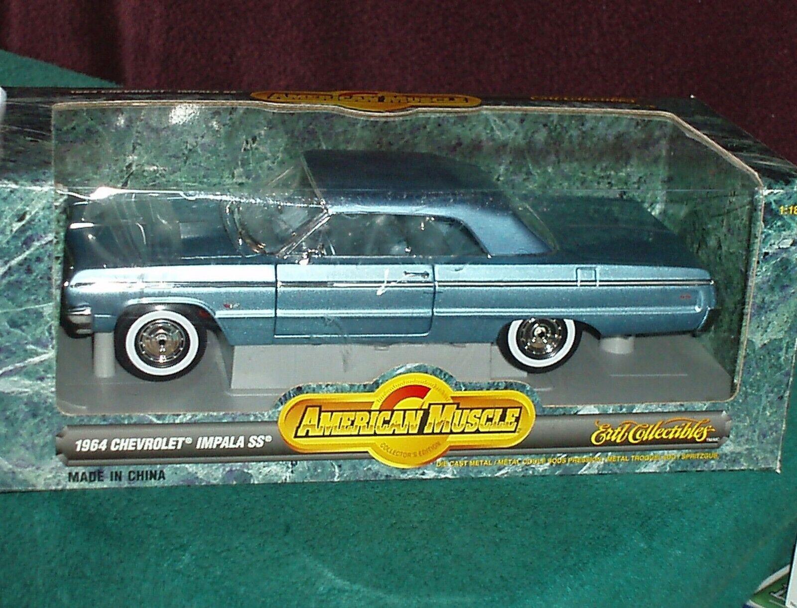 Ertl 1964 Chevy Impala Hardtop SS409 blu 1 18
