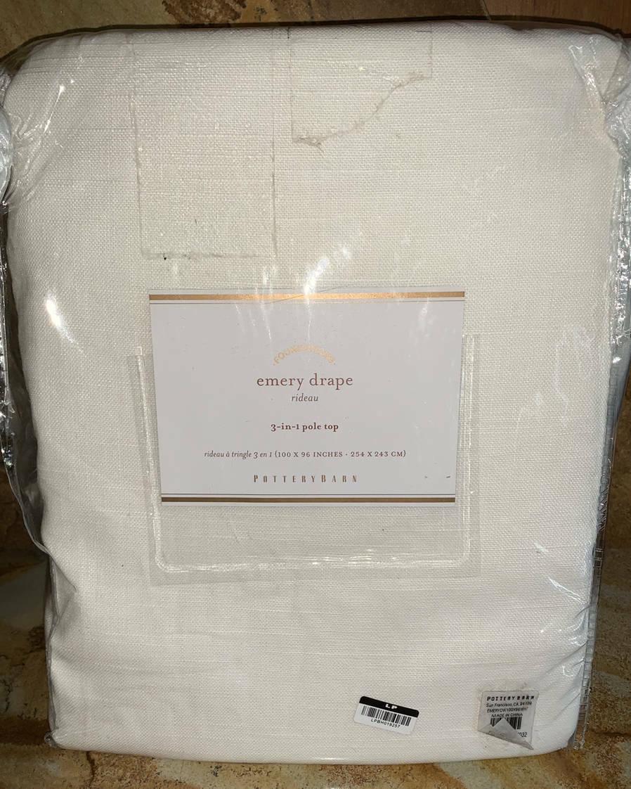 Support Tringle Rideau Ikea new~pottery barn emery linen cotton doublewide drape~white~100x96