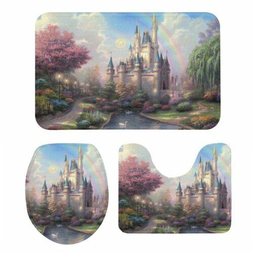 S//3 Princess Dream Château Couvercle De Toilette Siège De Toilette Couvercle Piédestal Tapis Tapis de bain Home Decor