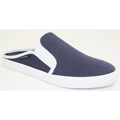 Womens Tommy Hilfiger FRANK 4 Slip On Fashion Sneaker Mule Canvas Navy Dark Blue