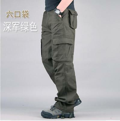 New Mens Casual Overalls Loose Straight Cargo Pants Casual Outdoor Trousers Sz #