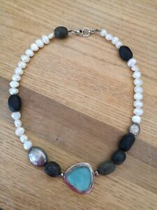 Artisan-New-925-Hallmark-Sterling-Silver-Pearl-Sea-Glass-Pebble-Chic-Necklace