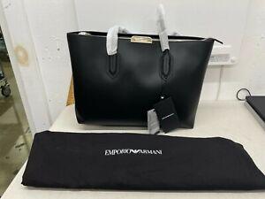 EMPORIO ARMANI Women's Leather Tote / Shopping Bag - Black