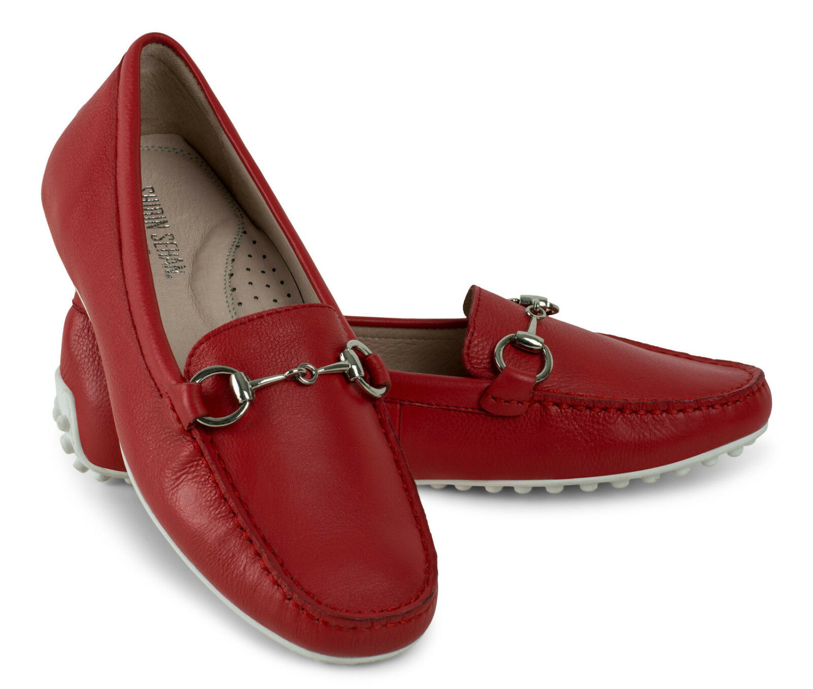 Mocasines loafer tachas suela de cuero rojo rojo Leather blanco Rubber Sole