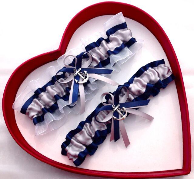 New Silver Navy Blue White Wedding Garter US Navy Nautical Marine Military Prom