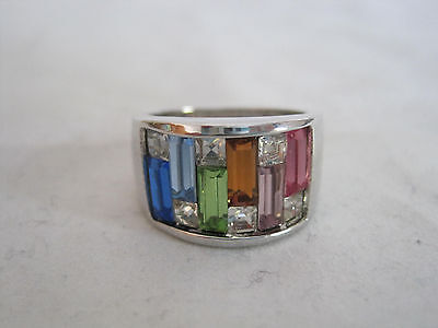 Womens Silver Tone Rhinestone Ring Baguettes Emerald Cut Colorful Wide Band