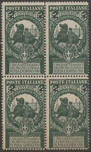 KAPPYSSTAMPS (S32) ITALY SC #126 SURCHARGE -GUM TONING- CATS $50 MNH BLOCK