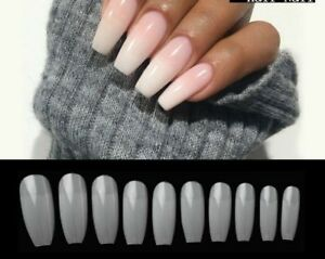 Details about DIY Coffin Shape Half Cover Press On Nails French Acrylic False Nail Tips 100pcs