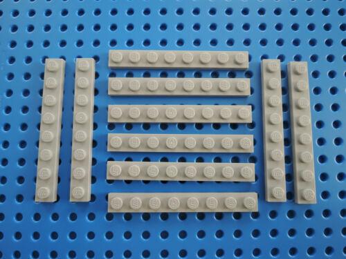 Lego 10 x Platte Bauplatte flach 3460 neu hellgrau 1x8