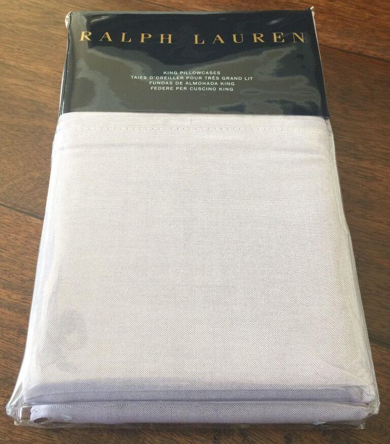 Ralph Lauren Luxury Oxford King Pair Cotton Nwt Pillowcases Lavender