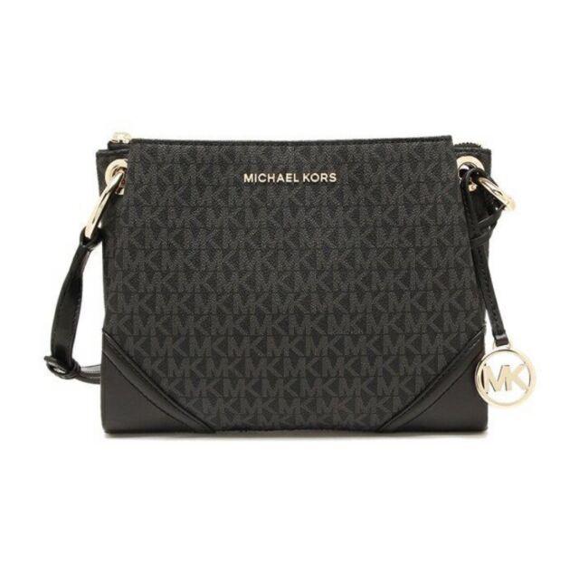 Michael Kors Nicole Triple Compartment Crossbody Bag MK Signature Black Silver