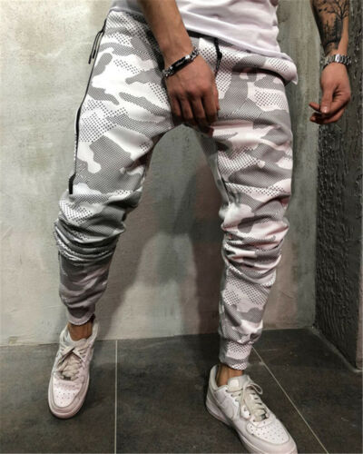 Mens Sweatpants Fitness Pants Workout Joggers Training Sport Camouflage Trousers