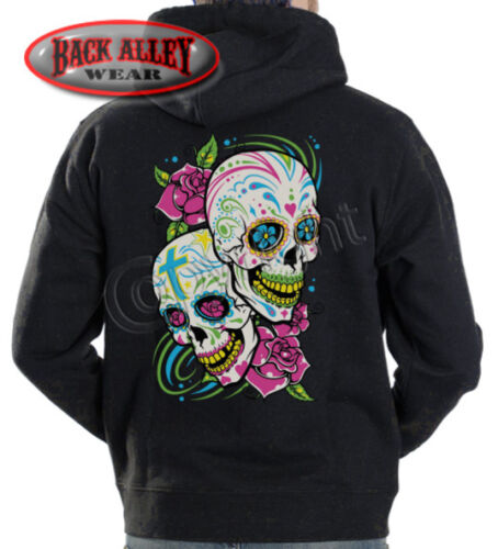 Sugar-Skulls-and-Roses-Hooded-Sweat-Shirt-M-3XL-Hoodie-Dia-de-los-Muertes-Dead