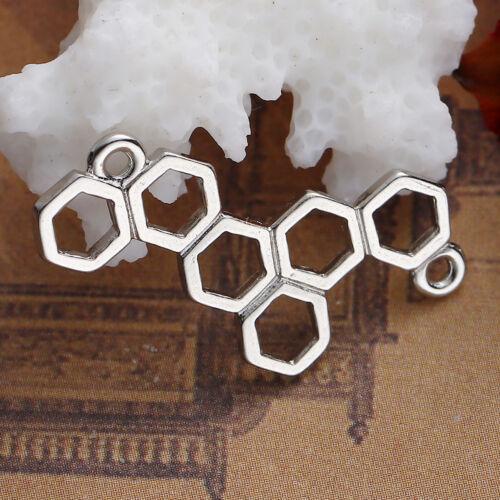 collier Lot 5 Connecteur Alvéole Abeille Argenté 26mm x 13mm Creation bijoux
