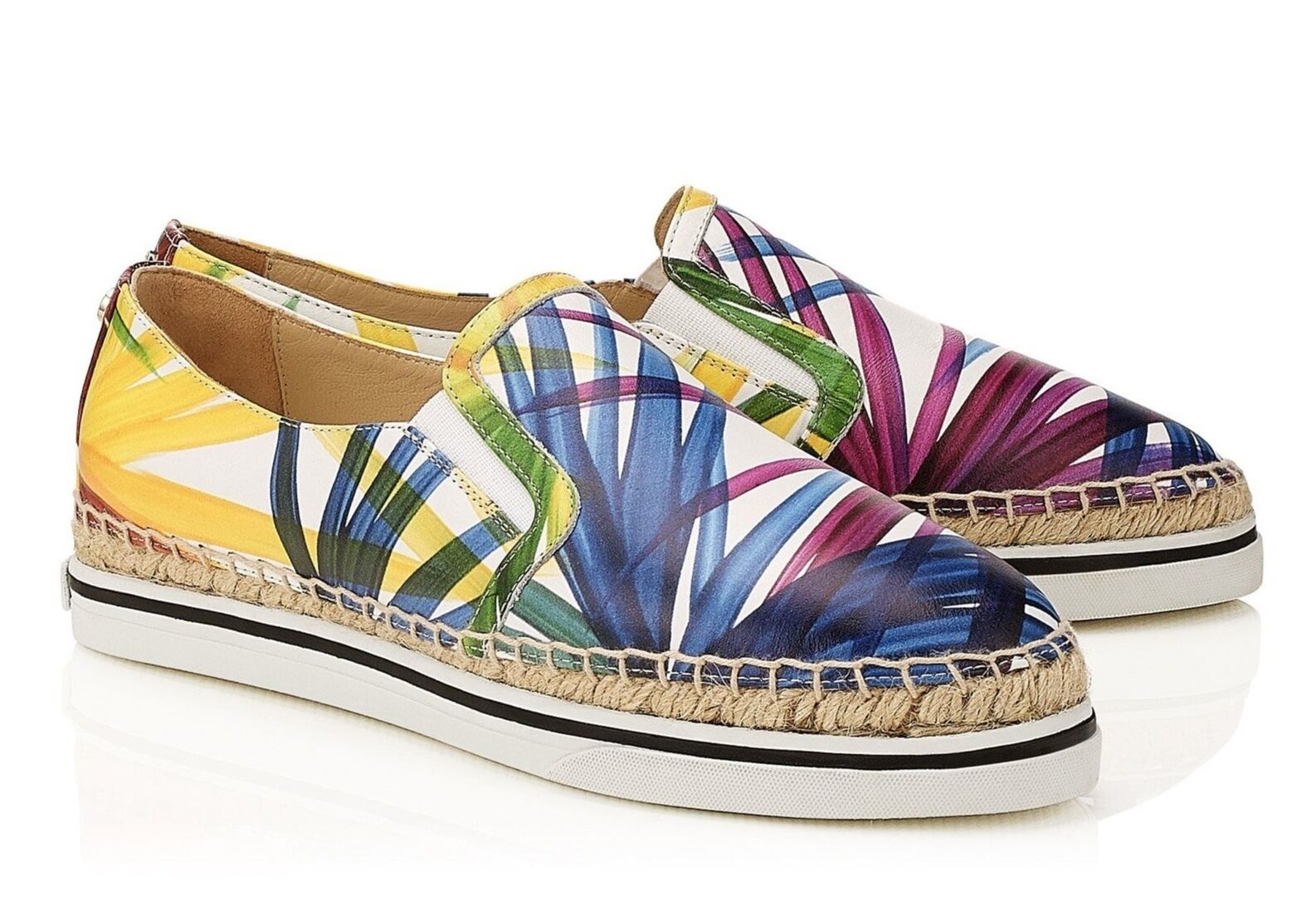 Jimmy Choo DAWN Printed Nappa Leather Espadrilles 8387 Size 37  475