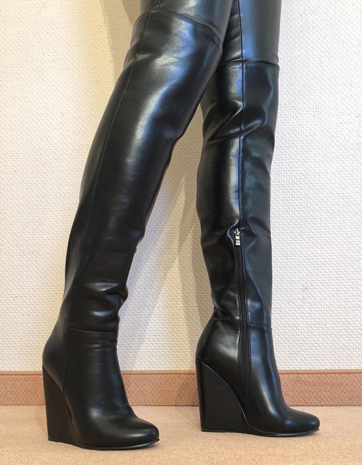 Gr.44 TOP ! Exklusiv Sexy Damen Schuhe Overknee Stiletto Stiefel Männer Boots D1