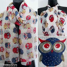 Retro Owl Print Brid Scarf Animal Wrap Sarong Shawl Scarves Celebrity Scarves