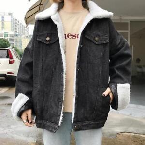 c7a365a6bc4a Women denim jacket fur liner Vintage winter black denim jacket coat ...