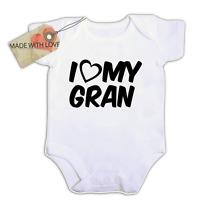 i love heart my gran nanna uncle aunty BABY VEST BOY/GIRL BODYSUIT